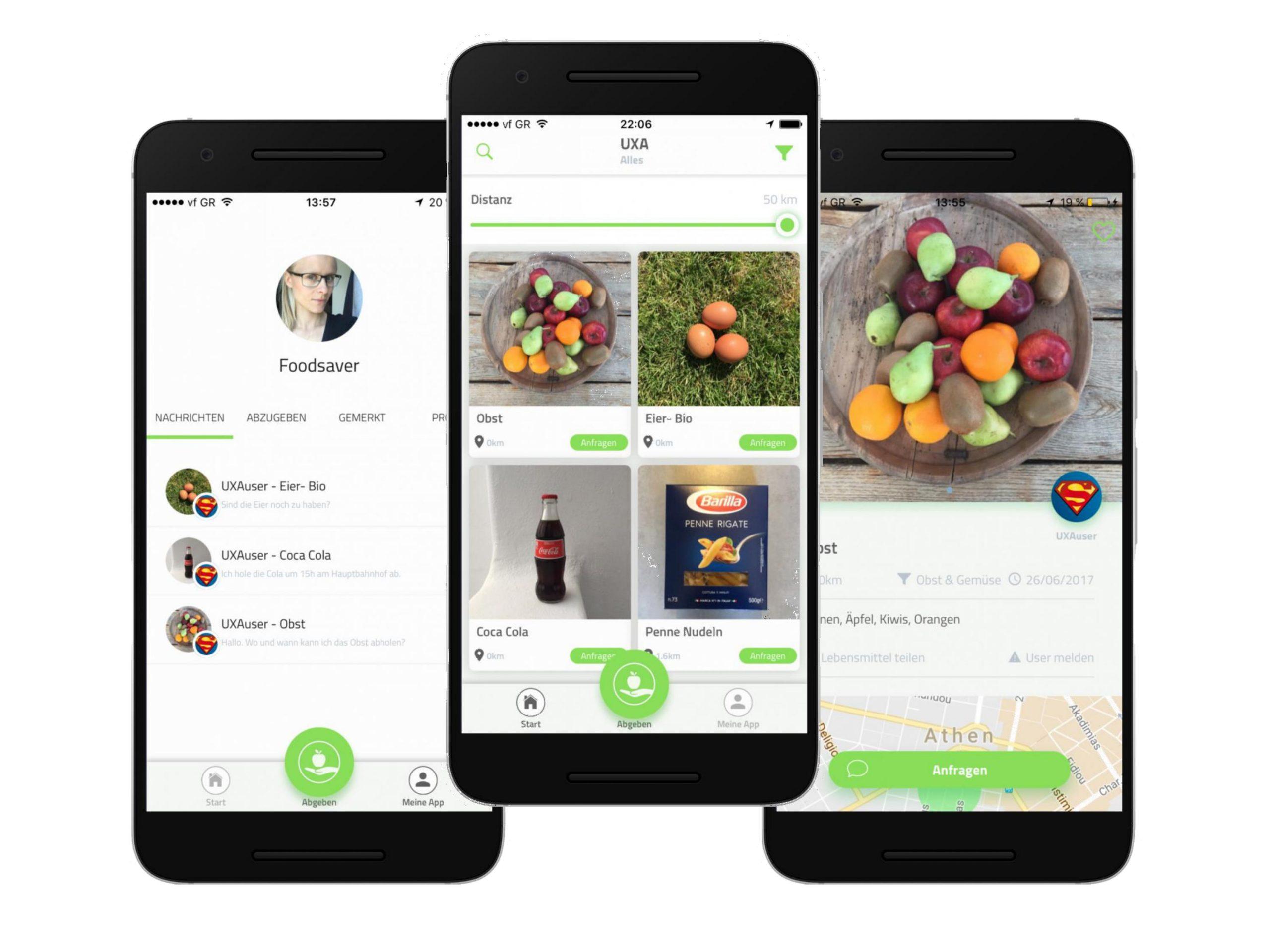 UXA, die Foodsharing APP